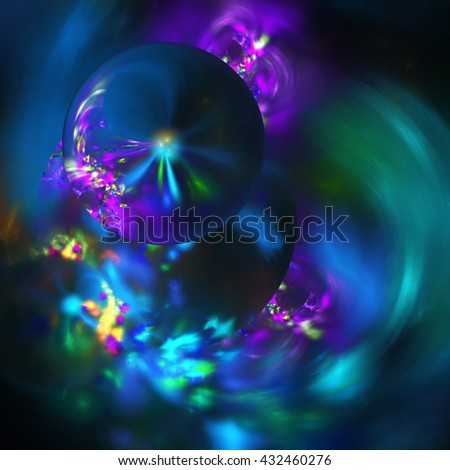 Abstract colorful blurred shapes on black background. Fantasy pink, purple and blue fractal design for greeting cards or t-shirts. - stock photo