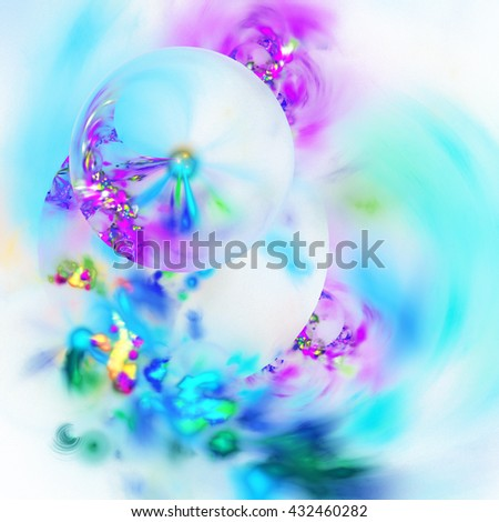 Abstract colorful blurred shapes on white background. Fantasy pink, purple and blue fractal design for greeting cards or t-shirts. - stock photo