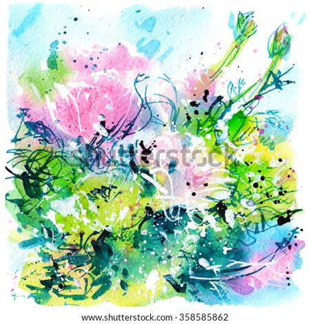 abstract colorful bouquet with two branches, flowers, watercolor painting, sketch
