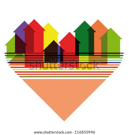 Abstract colorful city silhouette inscribed into heart shape. Raster version of the vector image - stock photo