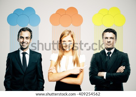 Abstract colorful clouds over heads of smiling business people on light background - stock photo