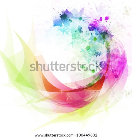 Abstract colorful curve and line background - stock photo