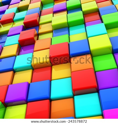 Abstract colorful 3D cubes background. - stock photo