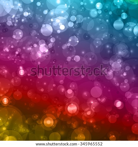 Abstract colorful defocused lights, dark colors celebration background - stock photo