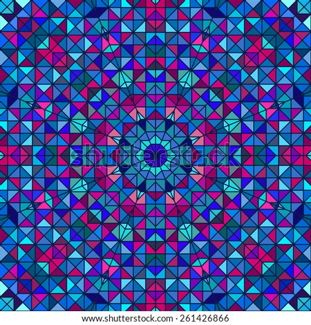 Abstract Colorful Digital Decorative Flower. Geometric Contrast Line Star and Blue Pink Cyan Color Artistic Backdrop - stock photo