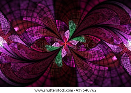 Abstract colorful floral ornament on black background. Symmetrical pattern in red, pink and green colors. Fantasy fractal design for postcards, wallpapers or t-shirts. - stock photo