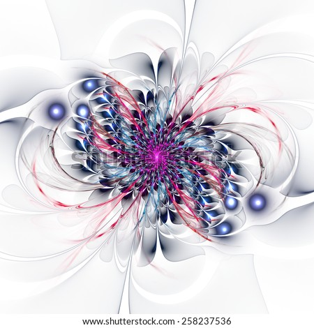 Abstract colorful flower spiral on white background - stock photo