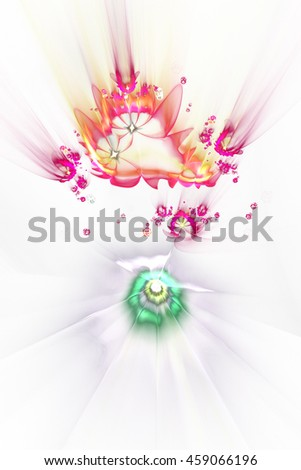 Abstract colorful flying flowers on white background. Fantasy red, orange and green fractal design for posters, postcards or t-shirts. Digital art. 3D rendering. - stock photo