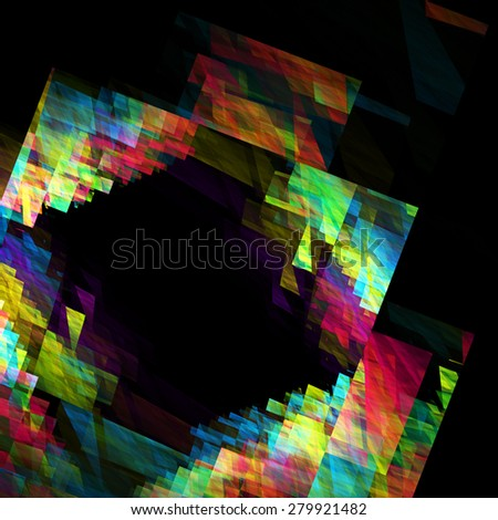 Abstract colorful fractal geometric frame on a black background. Raster graphic pattern - stock photo