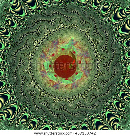 Abstract colorful fractal pattern on a green background - stock photo