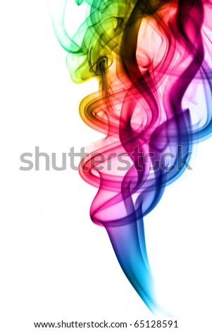 Abstract colorful fume swirls over the white background - stock photo