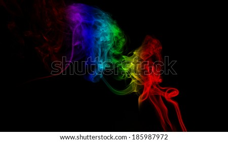 Abstract colorful fume waves background - stock photo