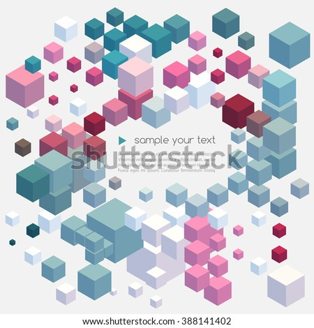 Abstract colorful  geometric background. Color geometric cubes.