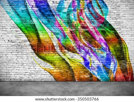 abstract colorful graffiti on white brick wall - stock photo