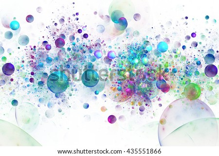 Abstract colorful green, blue and purple drops on white background. Fantasy fractal texture for postcards or t-shirts. - stock photo
