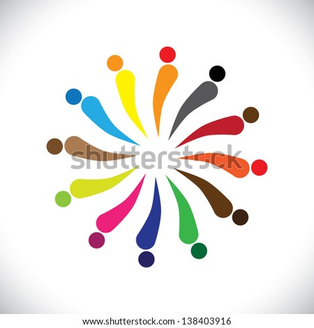 Abstract colorful happy people in circle. This graphic illustration can also represent concept of children playing together or team building or group activity, unity & diversity, etc - stock photo