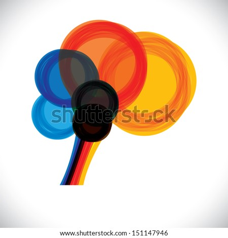 abstract colorful human brain icon or sign- simple graphic. This illustration represents a person's mind as colorful rings or circles of thought, intelligence, creativity, learning, etc - stock photo