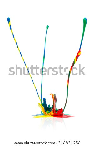 abstract Colorful paint splashing on white background - stock photo