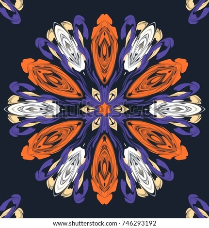 Abstract colorful pattern on dark gray background. Fancy ornament with symmetrical Central figure in the color combination blue, white, orange, and pale orange.