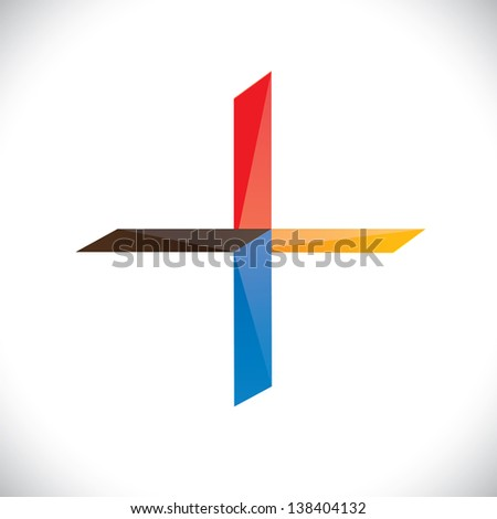 Abstract colorful plus icon or symbol. The graphic illustration represents a positivity sign with vivid and vibrant red, blue, orange colors - stock photo