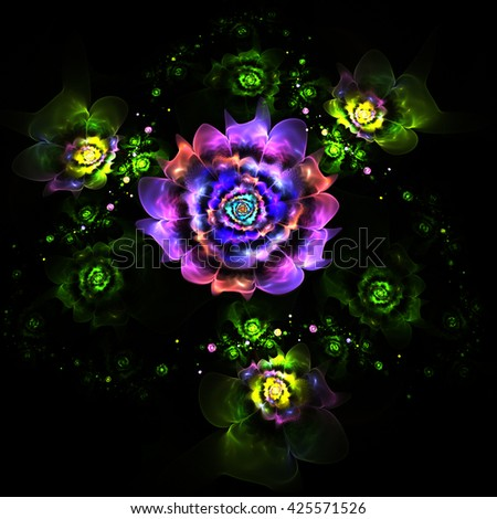 Abstract colorful purple, yellow and green flowers on black background. Fantasy fractal design for postcards or t-shirts. - stock photo