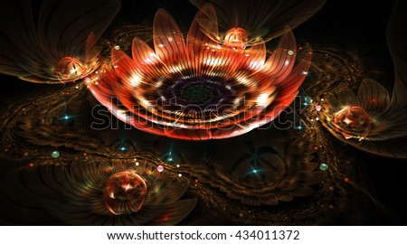 Abstract colorful red and orange 3d flowers with shining drops on black background. Fantasy fractal design for postcards or t-shirts. - stock photo
