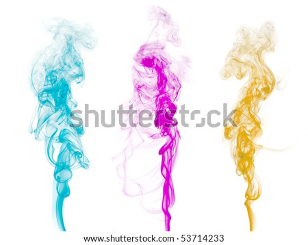 Abstract colorful smoke isolated on clean background. - stock photo