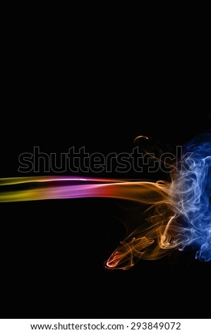 Abstract colorful smoke on black background, smoke background,colorful ink background,Yellow, Violet, Orange, Blue,beautiful color smoke