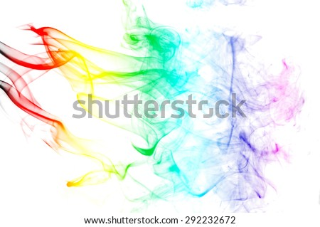Abstract colorful smoke on white background, smoke background,colorful ink background