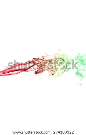 Abstract colorful smoke on white background, smoke background,colorful ink background,re and Green smoke