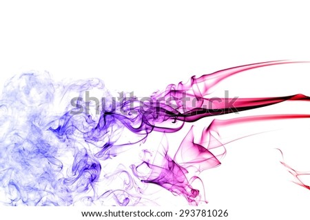 Abstract colorful smoke on white background, smoke background,colorful ink background,red, Blue,beautiful color smoke