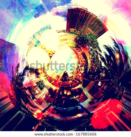 abstract colorful urban grunge background with many lights and bokeh in night city                                 - stock photo