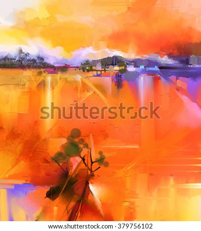 Abstract colorful yellow and red oil painting landscape on canvas. Semi- abstract image of tree, hill meadow (field) with orange sky. Spring,Summer season nature background - stock photo