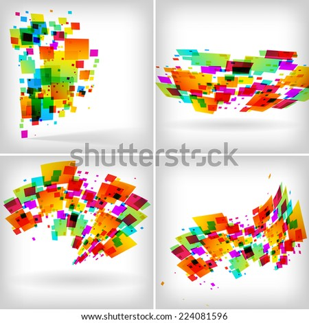 Abstract colour backgrounds set on white - raster illustration