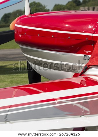 abstract colour scheme on an Extra 200 aircraft at Breighton airfield,yorkshire,UK.taken 14/07/2013