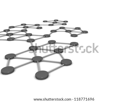 Abstract communications on a white background
