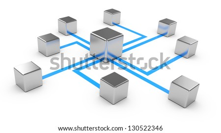 Abstract communications on a white background, conception of network, communication 3d - stock photo