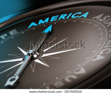 Abstract compass needle pointing the destination america, blue and brown tones with focus on the main word. Concept image suitable for illustration of trip counseling. - stock photo