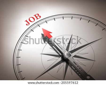 abstract compass needle pointing the word job in red and white tones - stock photo