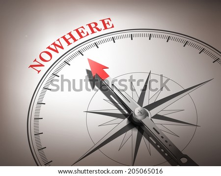 abstract compass needle pointing the word nowhere in red and white tones - stock photo