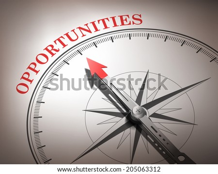 abstract compass needle pointing the word opportunities in red and white tones - stock photo