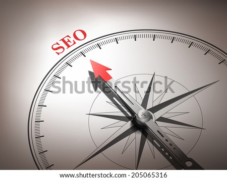 abstract compass with needle pointing the word SEO in red and white tones - stock photo