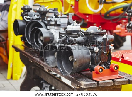 abstract composition of agricultural machinery - stock photo
