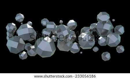 abstract composition of metallic rhombicuboctahedron for graphic design, isolated on black background - stock photo