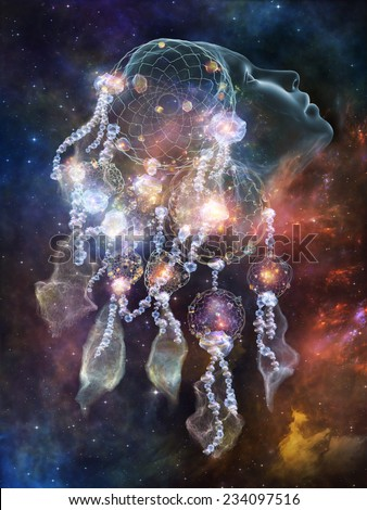 Abstract composition on the subject of Dream Catcher and Spirit World - stock photo