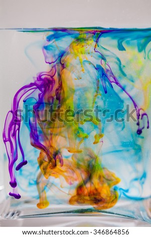 Abstract composition with ink and small bubbles. Beautiful background, texture and colors - stock photo