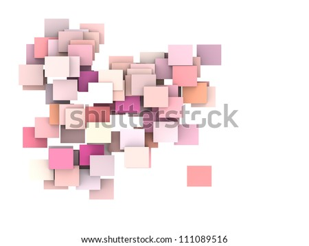 abstract composition with pink plane on white - stock photo