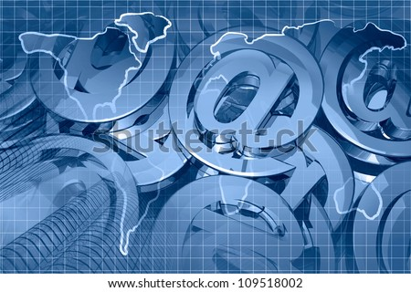 Abstract computer background in blues with buildings and mail signs.