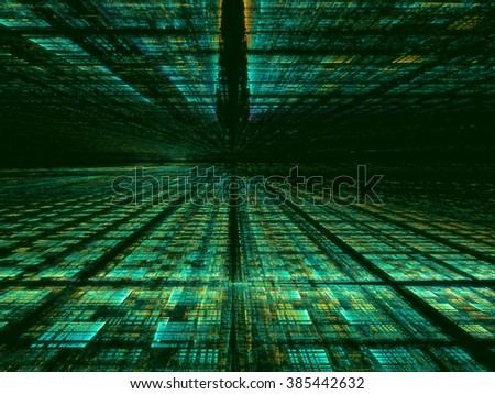 Abstract computer-generated green technology background with the horizon, grid and perspective. Fractal background for web-design, posters, covers. - stock photo