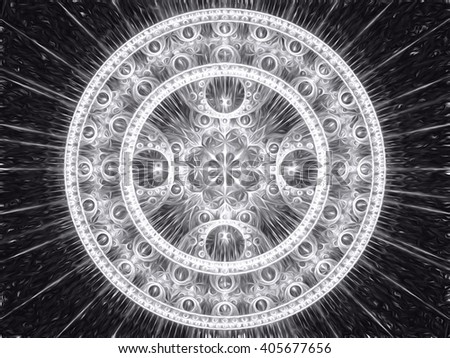 Abstract computer-generated image black and white mandala flower. Fractal background or graphic design element. sacred geometry - rays and rings. - stock photo
